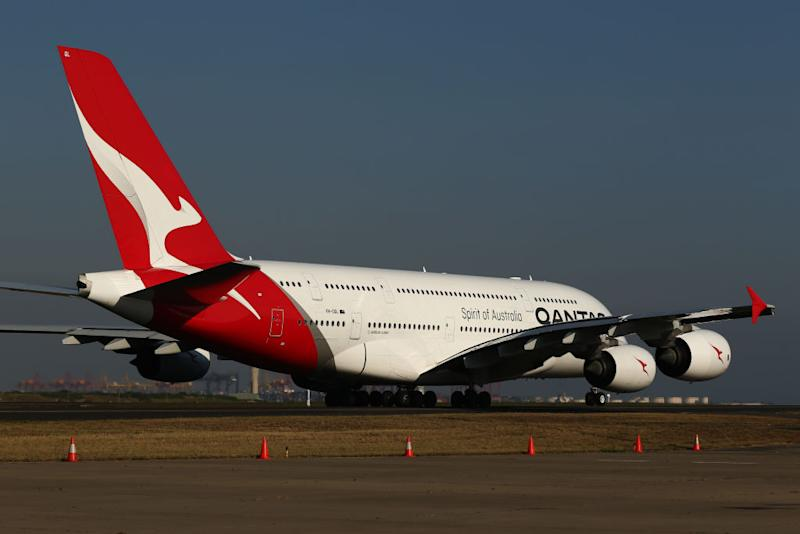 Pictured: Qantas A380 lands at Sydney airport. (Photo by Brendon Thorne/Getty Images)
