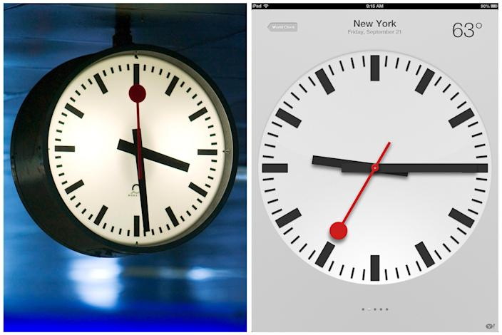 This combination of two images shows on the left, in a Sept. 2005 file photo, at Swiss railroad station clock at the Zurich station; and on the right, a screen shot taken from an Apple iPad, displaying a clock symbol, which is part of the new iOS 6 operating system, Friday, Sept. 21, 2012 in New York. Switzerland's national rail company is accusing Apple Inc. of stealing the iconic look of its station clocks for the iOS 6 operating system used by iPad mobile devices. Both designs have a round clock face with black indicators except for the second hand which is red. The rail company is now seeking financial compensation. (AP Photo/Keystone, Gaetan Bally)