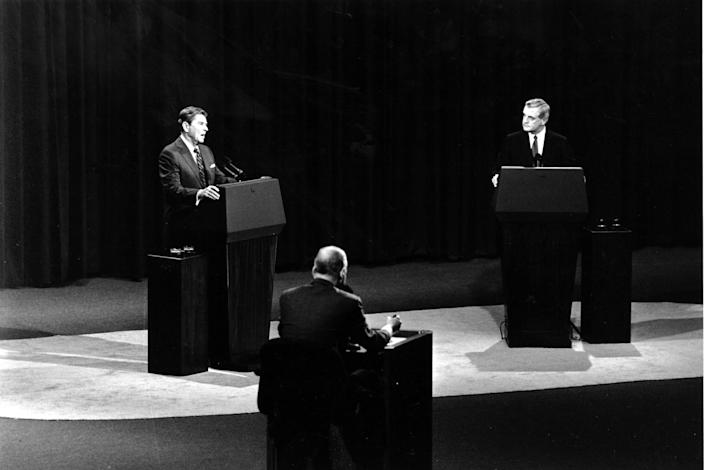 President Reagan and Democratic candidate Walter Mondale on a debate stage