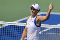 FILE - Ashleigh Barty, of Australia, gives a thumbs up to fans after defeating Victoria Azarenka, of Belarus, during the Western & Southern Open tennis tournament n Mason, Ohio, in this Thursday, Aug. 19, 2021, file photo. Barty is seeded for the U.S. Open, the year's last Grand Slam tennis tournament. Play in the main draw begins in New York on Monday, Aug. 30. (AP Photo/Aaron Doster, File)