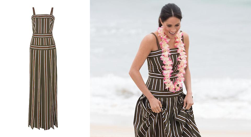 """<p>On day four of the royal tour, Meghan dressed diplomatically in a sun dress by Melbourne-based designer Martin Grant. The £1,080 number is still available to purchase and now all we need is a holiday. <a rel=""""nofollow noopener"""" href=""""https://www.modaoperandi.com/martin-grant-r19/pleated-stripe-long-dress"""" target=""""_blank"""" data-ylk=""""slk:Shop now"""" class=""""link rapid-noclick-resp""""><strong>Shop now</strong></a>. <em>[Photo: Getty]</em> </p>"""
