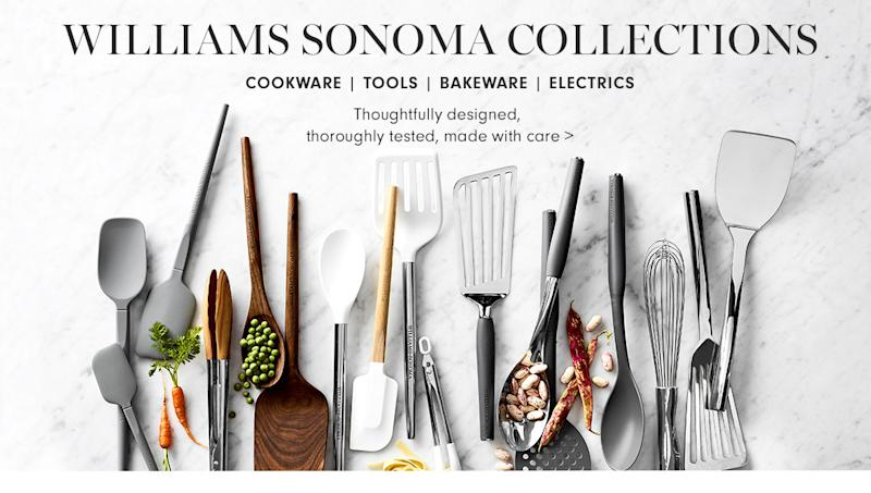 Row of kitchen utensils with Williams Sonoma Collections caption at top.