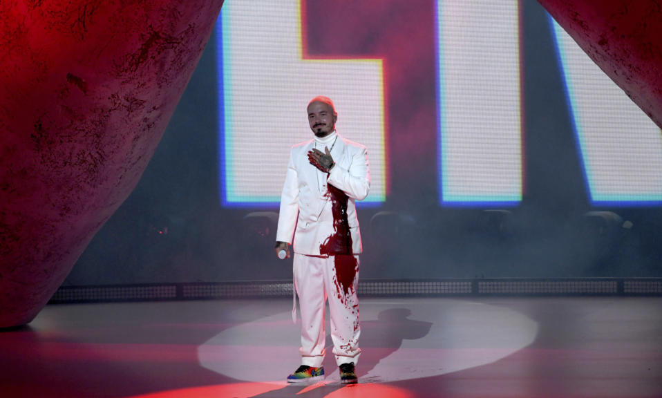 J Balvin performs for the 21st Latin Grammy Awards, airing on Thursday, Nov. 19, 2020, at American Airlines Arena in Miami. (AP Photo/Taimy Alvarez)