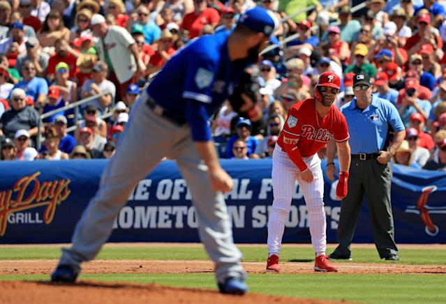 Bryce Harper walked twice and scored a run in his spring training debut with the Phillies. (Getty)