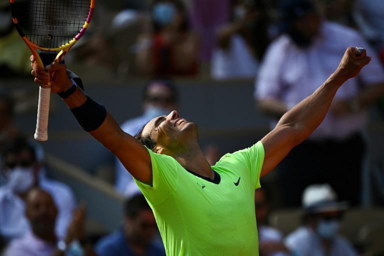 Two wins from a 21st major: Rafael Nadal celebrates after beating Argentina's Diego Schwartzman