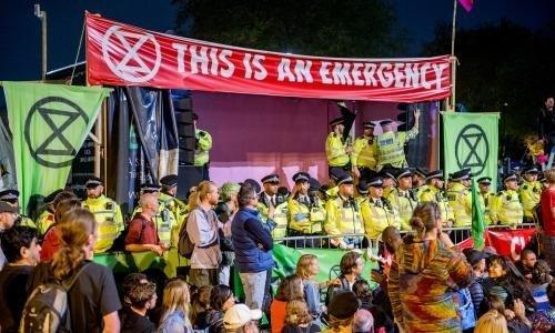 The Extinction Rebellion camp at Marble Arch in central London.
