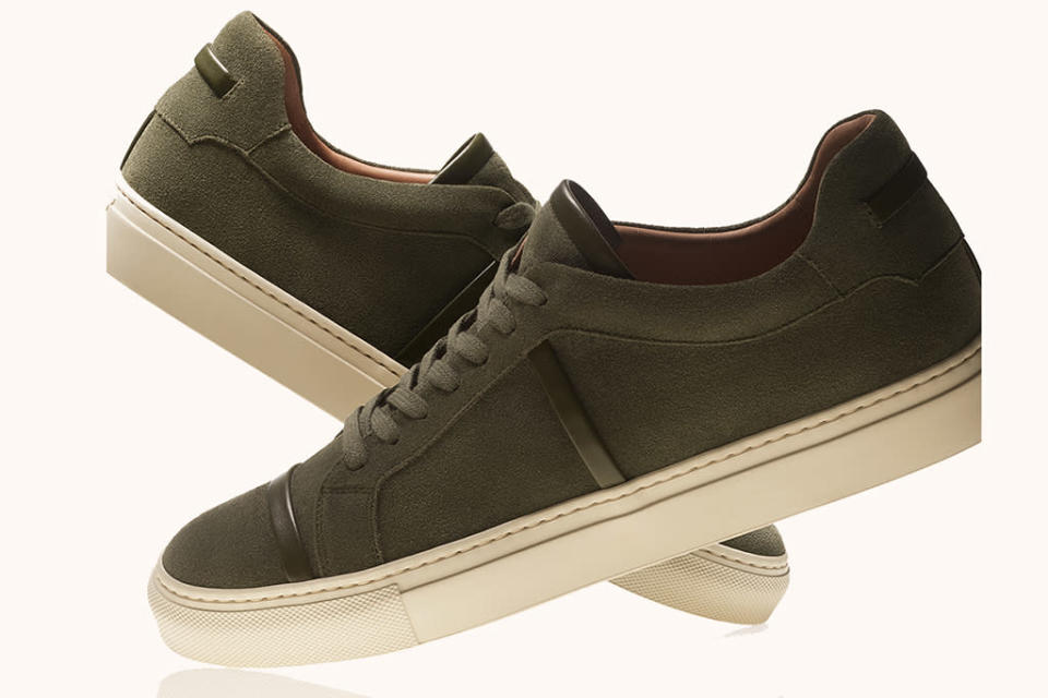 Malone Souliers' men's Deon style sneaker in pine suede. - Credit: Courtesy of Malone Souliers