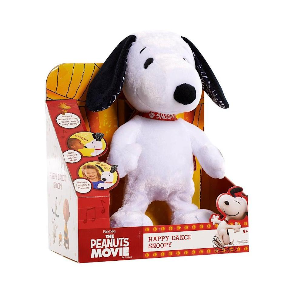 "<p>Your little one doesn't has to have seen the new <strong>Peanuts</strong> movie to have some fun with the <a href=""https://www.popsugar.com/buy/Happy-Dance-Snoopy-86396?p_name=Happy%20Dance%20Snoopy&retailer=amazon.com&pid=86396&price=40&evar1=moms%3Aus&evar9=25800161&evar98=https%3A%2F%2Fwww.popsugar.com%2Fphoto-gallery%2F25800161%2Fimage%2F38970012%2FHappy-Dance-Snoopy-Feature-Plush&list1=gifts%2Choliday%2Cgift%20guide%2Cparenting%2Ctoddlers%2Clittle%20kids%2Ckid%20shopping%2Choliday%20living%2Choliday%20for%20kids%2Cgifts%20for%20toddlers%2Cbest%20of%202019&prop13=api&pdata=1"" class=""link rapid-noclick-resp"" rel=""nofollow noopener"" target=""_blank"" data-ylk=""slk:Happy Dance Snoopy"">Happy Dance Snoopy</a> ($40). The plush Snoopy dances up the storm to the classic <strong>Peanuts</strong> theme song with the push of a button and if you give him a kiss on his nose, he'll kiss you back! How sweet!</p>"