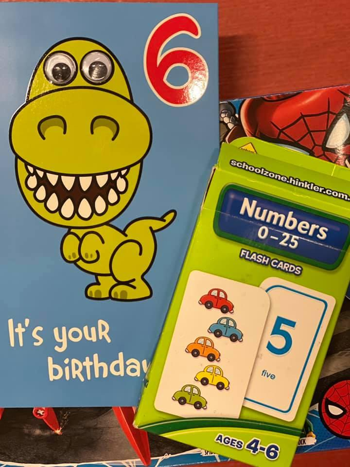 Image of 6th brithday card and present from coronavirus supplement 550 Reasons to Smile Facebook page
