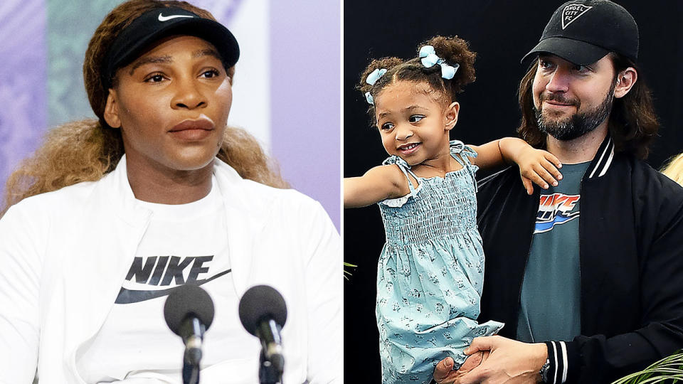 Serena Williams, pictured here at a press conference before Wimbledon.