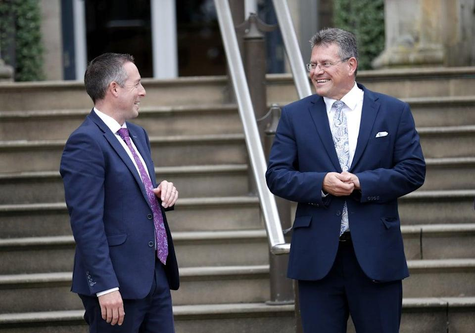 European Commission Vice President Maros Sefcovic (right) met with Northern Ireland First Minister Paul Givan at the Executive Office of Northern Ireland during a visit to Stormont last week (Peter Morrison/PA) (PA Wire)