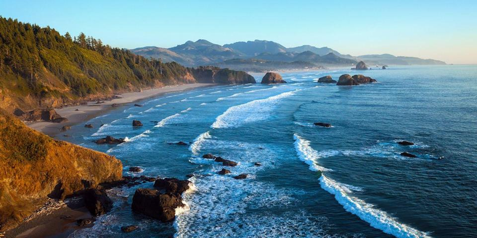 """<p><a href=""""https://www.tripadvisor.com/Attraction_Review-g51790-d117451-Reviews-Cannon_Beach-Cannon_Beach_Oregon.html"""" rel=""""nofollow noopener"""" target=""""_blank"""" data-ylk=""""slk:Cannon Beach"""" class=""""link rapid-noclick-resp"""">Cannon Beach</a> is not only one of the best beaches in Oregon, but one of the best in the entire Pacific Northwest (it's less than 2 hours from <a href=""""https://www.bestproducts.com/fun-things-to-do/a1410/things-to-do-in-portland/"""" rel=""""nofollow noopener"""" target=""""_blank"""" data-ylk=""""slk:Portland"""" class=""""link rapid-noclick-resp"""">Portland</a>). The beach has numerous tide pools, and photographers have a field day taking snaps of Haystack Rock, a 235-foot-tall rock formation where puffins often congregate.</p><p><a class=""""link rapid-noclick-resp"""" href=""""https://go.redirectingat.com?id=74968X1596630&url=https%3A%2F%2Fwww.tripadvisor.com%2FHotel_Review-g51790-d272019-Reviews-Stephanie_Inn-Cannon_Beach_Oregon.html&sref=https%3A%2F%2Fwww.redbookmag.com%2Flife%2Fg34756735%2Fbest-beaches-for-vacations%2F"""" rel=""""nofollow noopener"""" target=""""_blank"""" data-ylk=""""slk:BOOK NOW"""">BOOK NOW</a> Stephanie Inn</p><p><a class=""""link rapid-noclick-resp"""" href=""""https://go.redirectingat.com?id=74968X1596630&url=https%3A%2F%2Fwww.tripadvisor.com%2FHotel_Review-g51790-d268490-Reviews-The_Ocean_Lodge-Cannon_Beach_Oregon.html&sref=https%3A%2F%2Fwww.redbookmag.com%2Flife%2Fg34756735%2Fbest-beaches-for-vacations%2F"""" rel=""""nofollow noopener"""" target=""""_blank"""" data-ylk=""""slk:BOOK NOW"""">BOOK NOW</a> The Ocean Lodge</p>"""