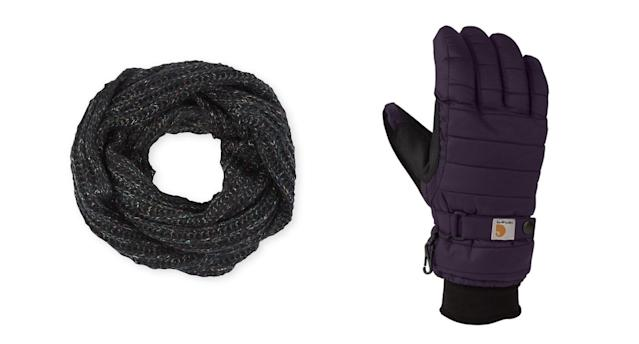 An infinity scarf from Pistill, left, goes well with heavy-duty gloves from Carhartt. (Photos: Pistill; Carhartt)