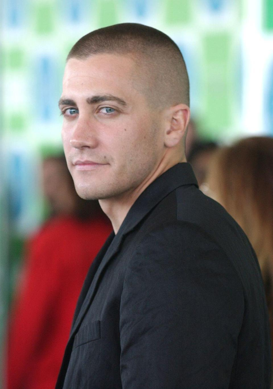 <p>Who can forget Jake Gyllenhaal's buzzcut phase in 2005? Not us. But the actor didn't try out the hairstyle just for kicks — it was for his role as a solider in <em>Jarhead</em>. </p>