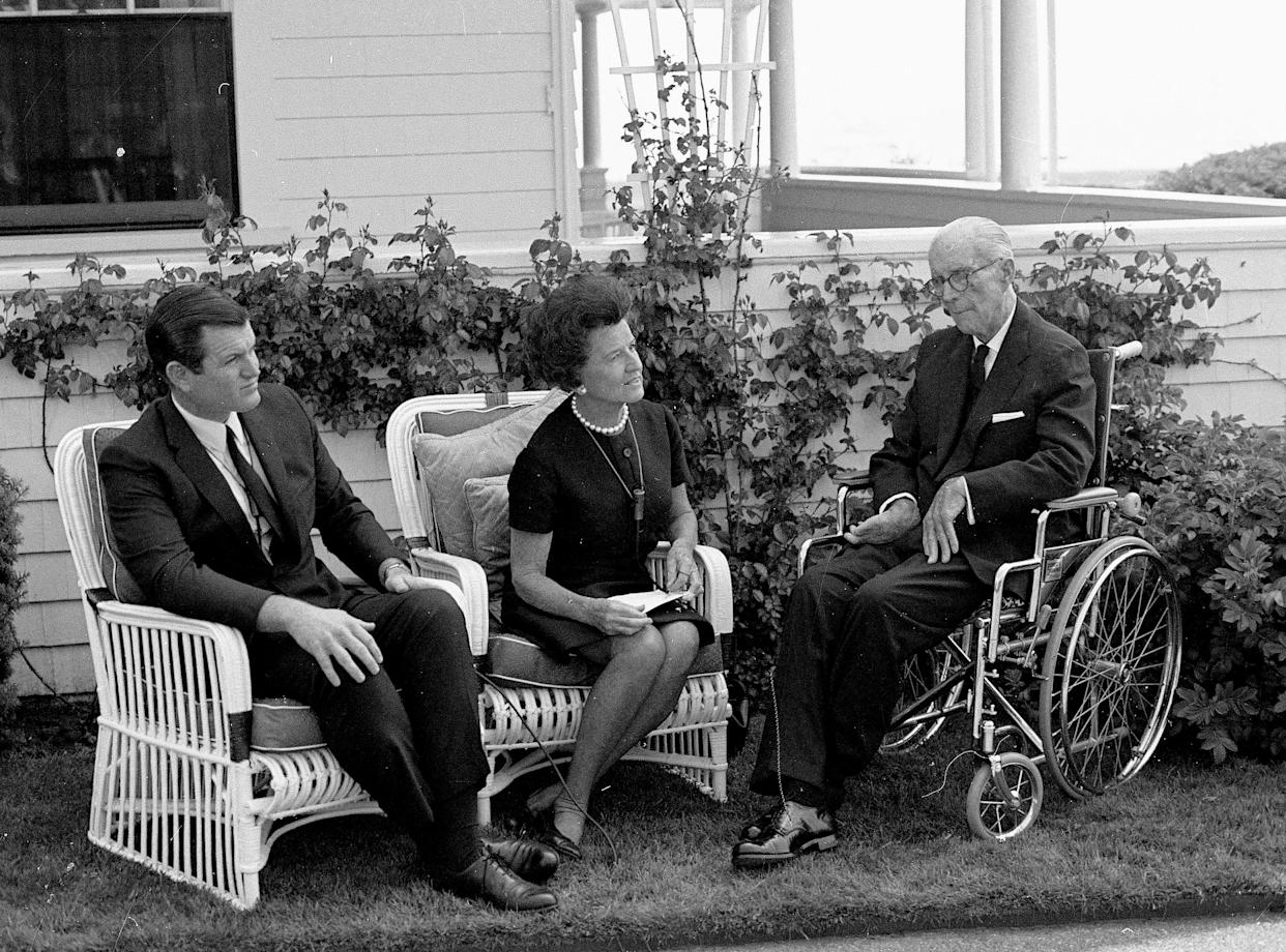 Members of the Kennedy family in Hyannis Port, Mass., in June 1968. From left, Sen. Edward Kennedy, and his parents, Rose and Joseph Kennedy. (Photo: AP)