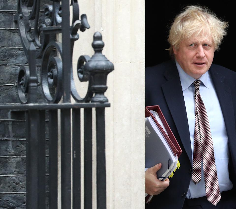 Prime Minister Boris Johnson leaves 10 Downing Street, London, for PMQs in the House of Commons.