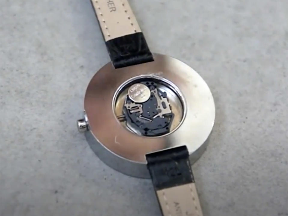 A lithium battery inside a watch. Valeria Makarova swallowed a battery as she was replacing the one in her watch.