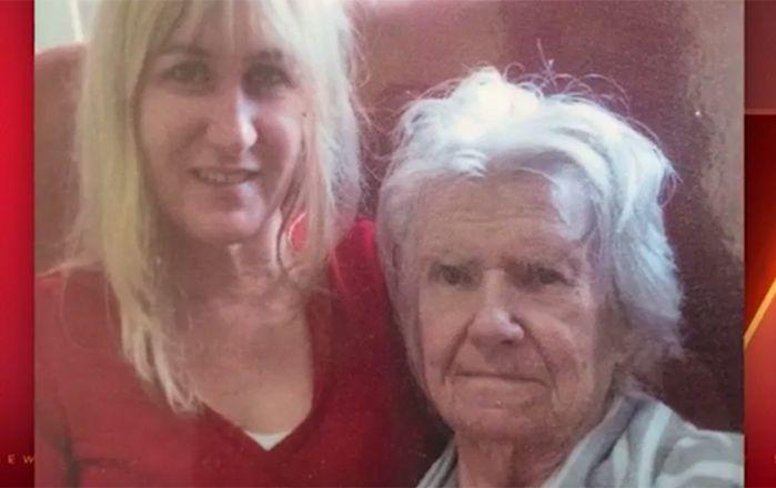 Protestor Sandi Pike and her mother, who lives at the facility. Image: 7News