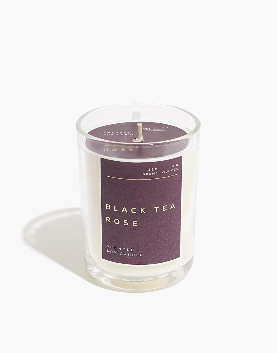 "<h2>Madewell Glass Tumbler Scented Candle</h2><br><strong>Notes:</strong> Currant, apricot, jasmine, freesia, rose, musk, amber<br><strong>Made From:</strong> 100% soy wax<br><br><strong><em><a href=""https://www.madewell.com/home-gift/candles?gridtype=four-up"" rel=""nofollow noopener"" target=""_blank"" data-ylk=""slk:Shop Madewell"" class=""link rapid-noclick-resp"">Shop Madewell</a></em></strong> <br><br><strong>Madewell</strong> Glass Tumbler Scented Candle, $, available at <a href=""https://go.skimresources.com/?id=30283X879131&url=https%3A%2F%2Ffave.co%2F37aZTMs"" rel=""nofollow noopener"" target=""_blank"" data-ylk=""slk:Madewell"" class=""link rapid-noclick-resp"">Madewell</a>"