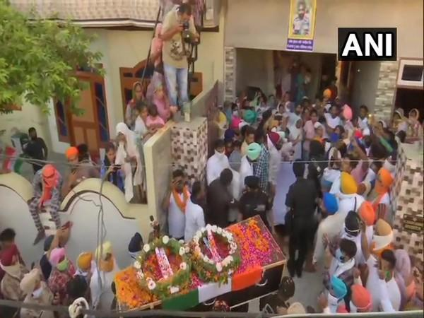 Mortal remains of Naib Subedar Rajwinder Singh was brought to his home today. (Photo: ANI)
