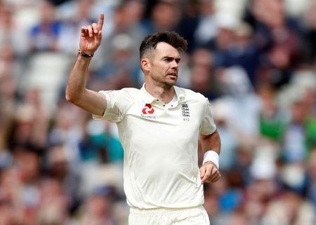 Cricket - England vs West Indies - First Test - Birmingham, Britain - August 19, 2017 England's James Anderson celebrates the wicket of West Indies' Kyle Hope Action Images via Reuters/Paul Childs