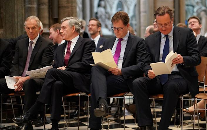 LONDON, ENGLAND - JUNE 20: (L-R) Tony Blair, Gordon Brown, NIck Clegg and David Cameron attend a service of thanksgiving to remember the life of Lord Jeremy Heywood at Westminster Abbey on June 20, 2019 in London, England.Lord Jeremy Heywood of Whitehall GCB CVO served as Head of the Civil Service until shortly before his death in 2018. Former Prime Ministers, senior politicians, civil servants joined his family and friends at a service of thanksgiving for his life and work. (Photo by Henry Nicholls - WPA Pool/Getty Images) - (Photo by Henry Nicholls - WPA Pool/Getty Images)/ (Photo by Henry Nicholls - WPA Pool/Getty Images)
