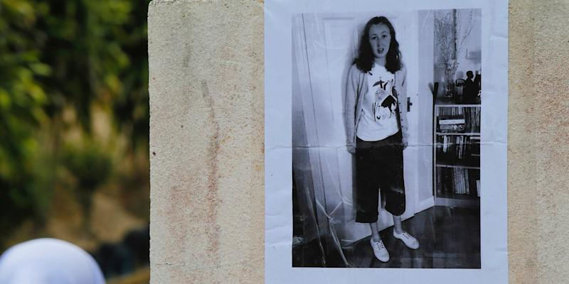 A photo of 15-year-old London girl Nora Quoirin, who went missing from The Dusun resort, is pasted on a wall at a school in Seremban, Negeri Sembilan, Malaysia, Tuesday, Aug. 6, 2019.