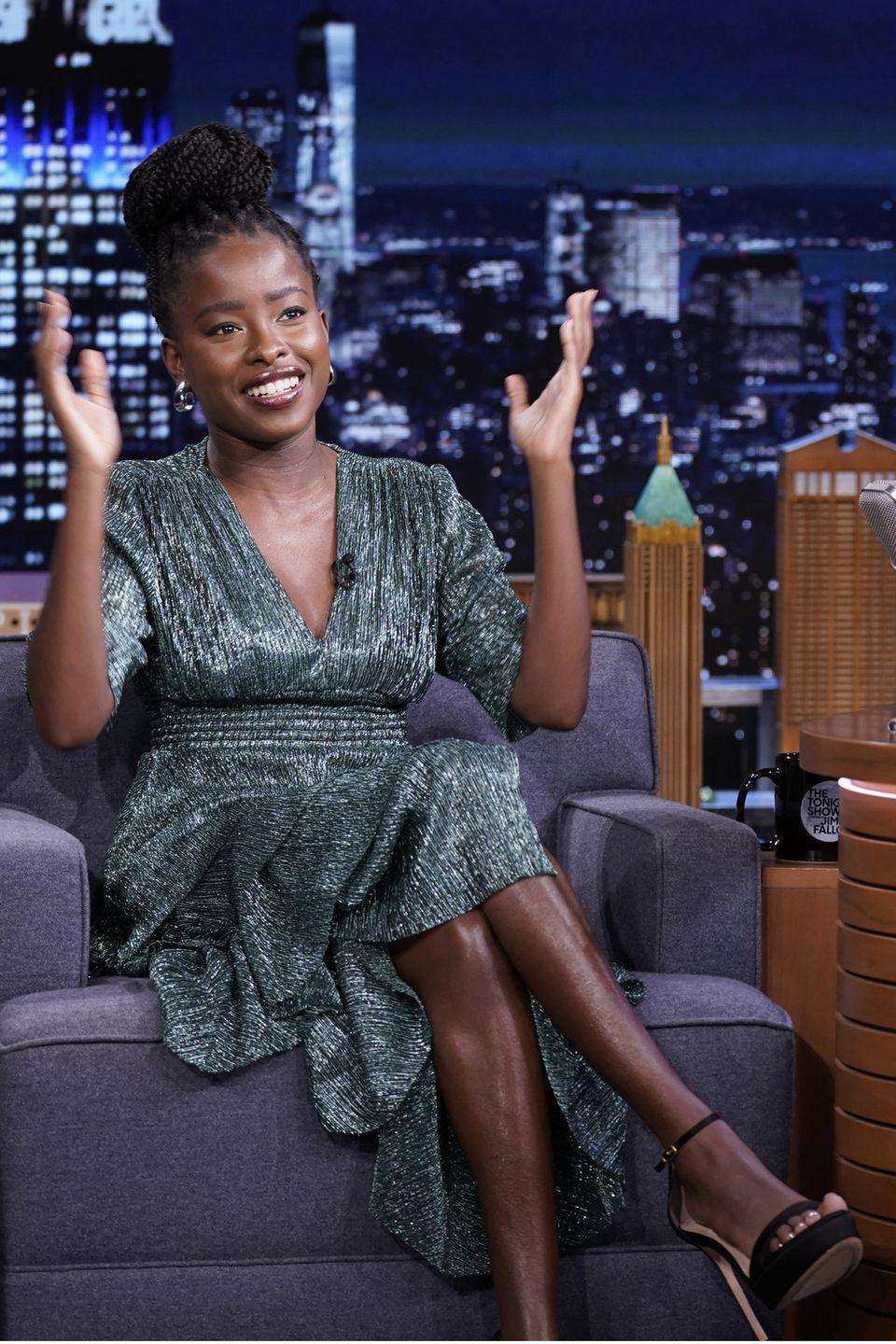 <p><strong>21 September</strong></p><p>Amanda Gorman looked elegant in a metallic dress on The Tonight Show. </p>