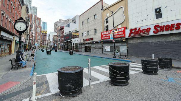 PHOTO: Streets are empty and businesses have been shuttered in Jersey City, April 27, 2020, in Jersey City, New Jersey. (Arturo Holmes/Getty Images)