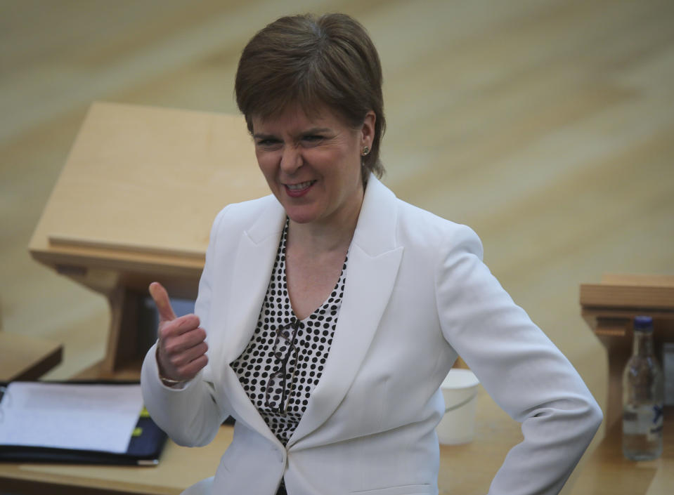 EDINBURGH, SCOTLAND - JUNE 18: Nicola Sturgeon MSP First Minister takes part in the First Minister's Questions at the Scottish Parliament Holyrood on June 18, 2020 in Edinburgh, Scotland. (Photo by Fraser Bremner - Pool/Getty Images)