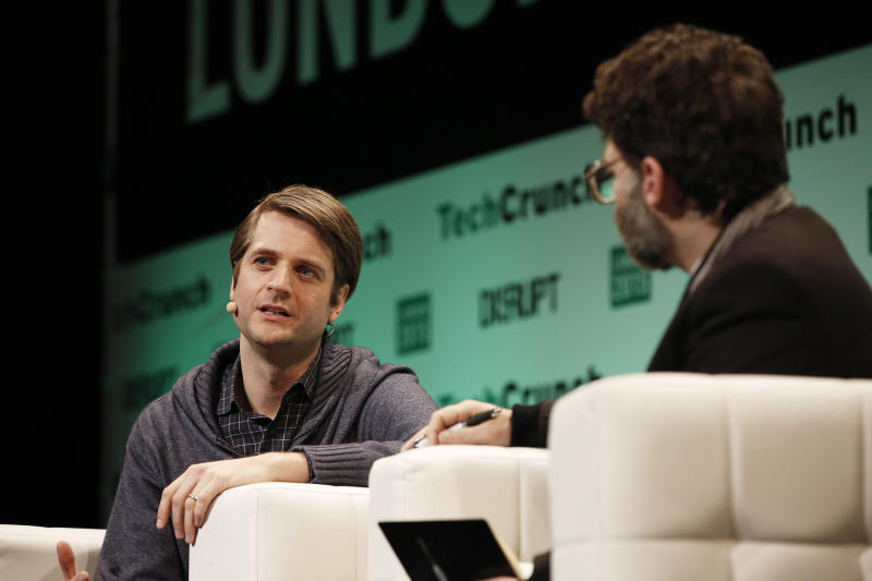 LONDON, ENGLAND - DECEMBER 07: Co-founder and CEO Klarna Sebastian Siemiatkowski and Jonathan Shieber during TechCrunch Disrupt London 2015 - Day 1 at Copper Box Arena on December 7, 2015 in London, England. (Photo by John Phillips/Getty Images for TechCrunch)