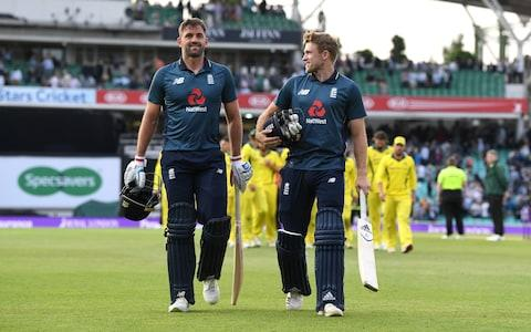David Willey and Liam Plunkett of England celebrate winning the first one-day match between England and Australia  - Credit: Getty Images