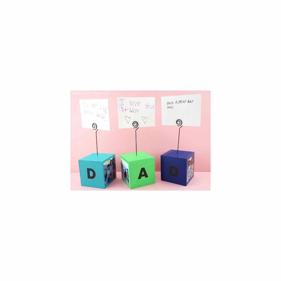 """<p>This easy Father's Day craft idea serves as both the present and the card—and it's just right for his desk. </p><p><a href=""""https://iheartcraftythings.com/diy-photo-blocks.html"""" rel=""""nofollow noopener"""" target=""""_blank"""" data-ylk=""""slk:Get the tutorial."""" class=""""link rapid-noclick-resp"""">Get the tutorial.</a></p><p><a class=""""link rapid-noclick-resp"""" href=""""https://go.redirectingat.com?id=74968X1596630&url=https%3A%2F%2Fwww.walmart.com%2Fip%2FNatural-Wooden-Cube-Blocks-1-Inch-6-Piece%2F450534877&sref=https%3A%2F%2Fwww.oprahdaily.com%2Flife%2Fg27603456%2Fdiy-homemade-fathers-day-gifts%2F"""" rel=""""nofollow noopener"""" target=""""_blank"""" data-ylk=""""slk:SHOP WOOD BLOCKS"""">SHOP WOOD BLOCKS</a></p>"""