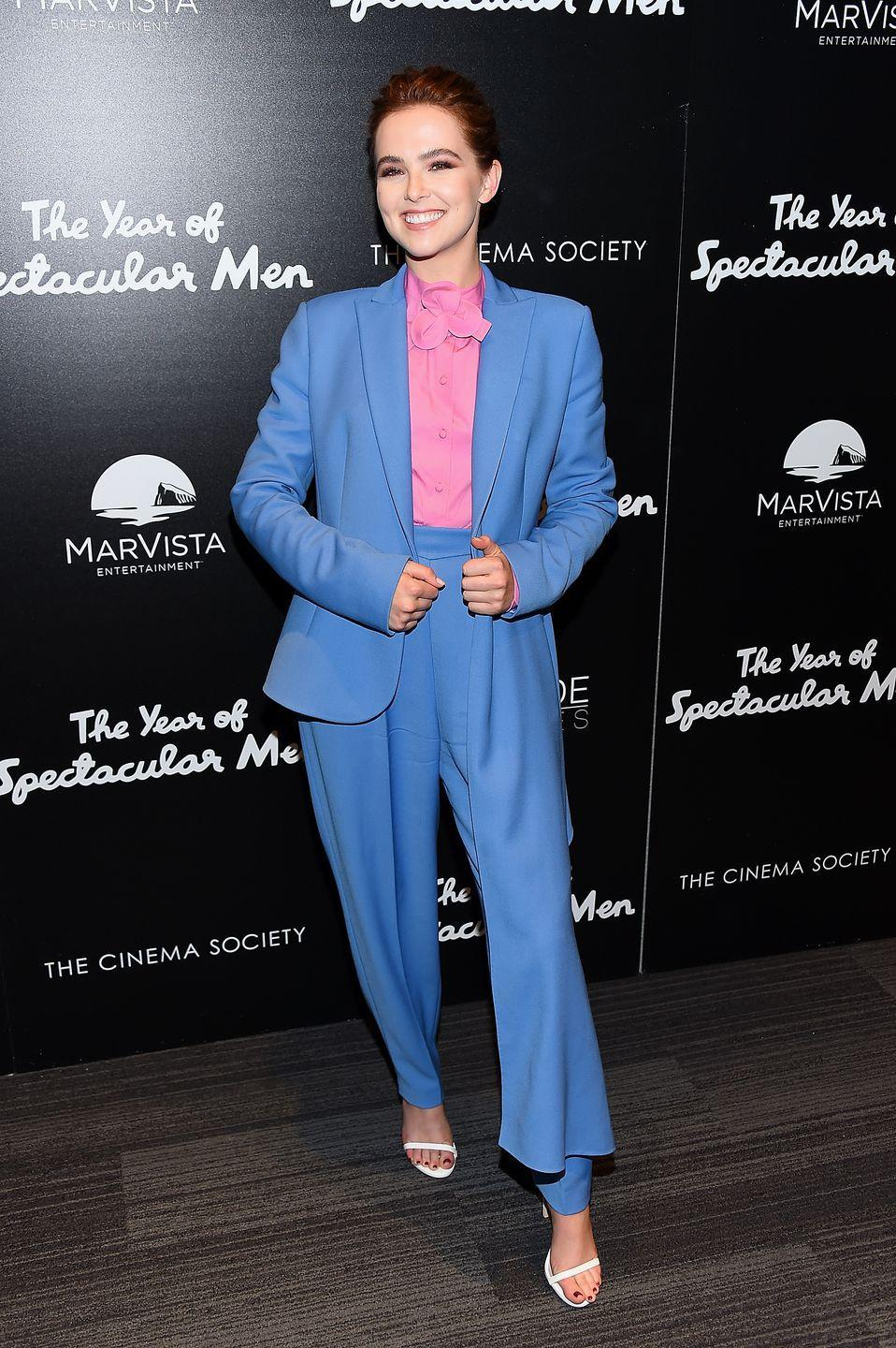 <p>The actress wore a Delpozo suit to <em>The Year Of Spectacular Men </em>screening in New York.</p>