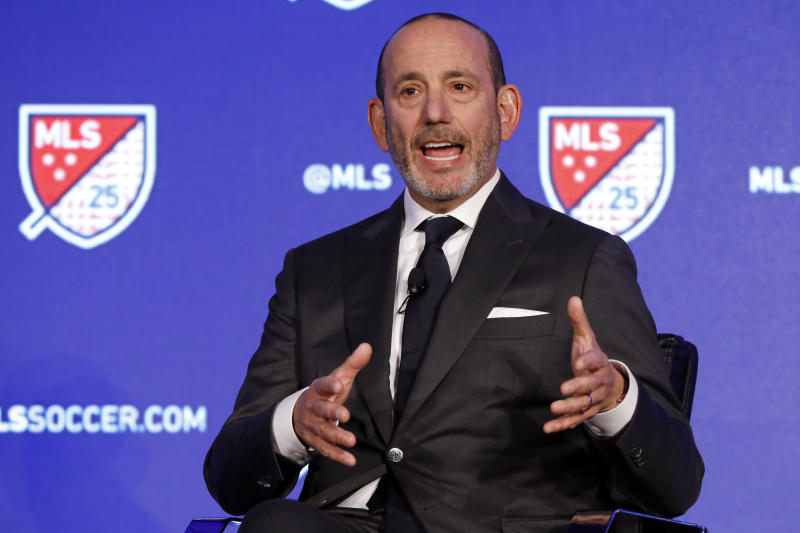 Major League Soccer Commissioner Don Garber speaks during the Major League Soccer 25th Season kickoff event in New York, Wednesday, Feb. 26, 2020. (AP Photo/Richard Drew)