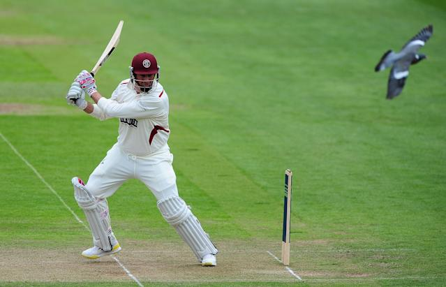 TAUNTON, ENGLAND - MAY 5: Marcus Trescothick of Somerset bats during day two of the LV County Championship Division One match between Somerset and Nottinghamshire at The County Ground on May 5, 2014 in Taunton, England. (Photo by Dan Mullan/Getty Images)