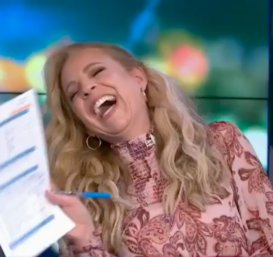 Carrie Bickmore laughing on The Project
