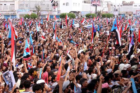 Supporters of the separatist Southern Movement demonstrate against recent decisions by President Abd-Rabbu Mansour Hadi that sacked senior officials in Aden, Yemen