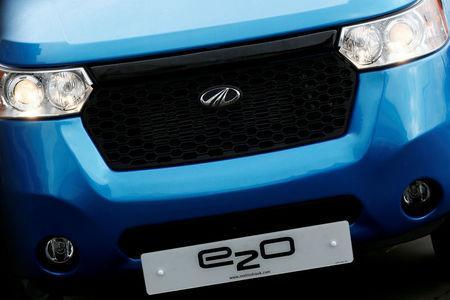 FILE PHOTO: The badge of a Mahindra e2o electric car is seen in London, Britain, April 15, 2016. REUTERS/Stefan Wermuth/File Photo