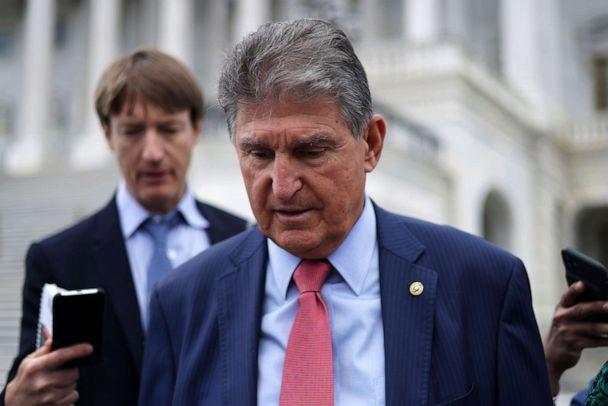PHOTO: Sen. Joe Manchin leaves the U.S. Capitol after a vote June 10, 2021 in Washington, DC. (Alex Wong/Getty Images)