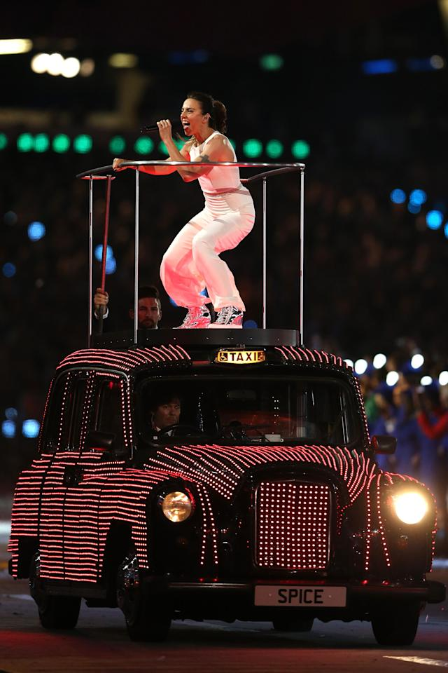 LONDON, ENGLAND - AUGUST 12: Melanie Chisholm of Spice Girls performs during the Closing Ceremony on Day 16 of the London 2012 Olympic Games at Olympic Stadium on August 12, 2012 in London, England. (Photo by Scott Heavey/Getty Images)