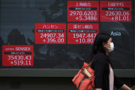 A woman walks past an electronic stock board showing Japan's Nikkei 225 and other Asian indexes at a securities firm in Tokyo Wednesday, June 24, 2020. Asian shares were mostly higher on Wednesday with another mood boost from Wall Street, but fears persist over the surge in coronavirus cases in parts of the world. (AP Photo/Eugene Hoshiko)