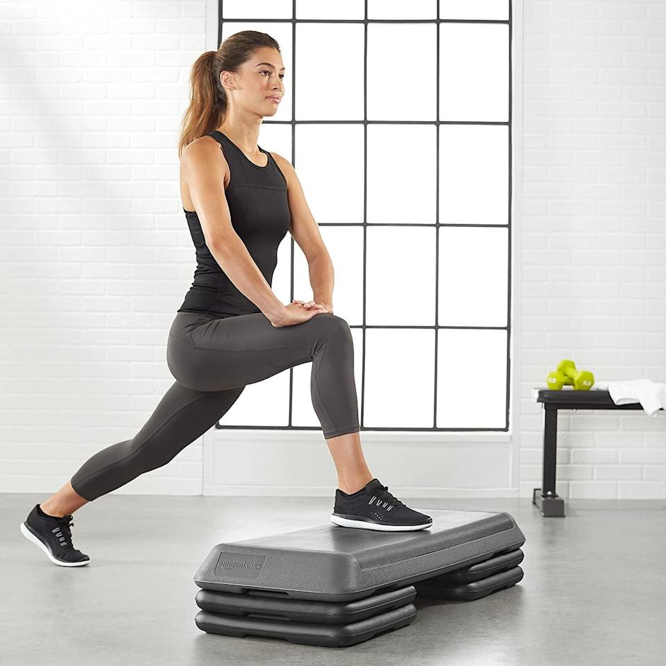 <p>These <span>Amazon Basics Aerobic Exercise Workout Step Platform with Adjustable Risers</span> ($56) will take your workouts to a whole new level. It's great for enhancing your leg days.</p>