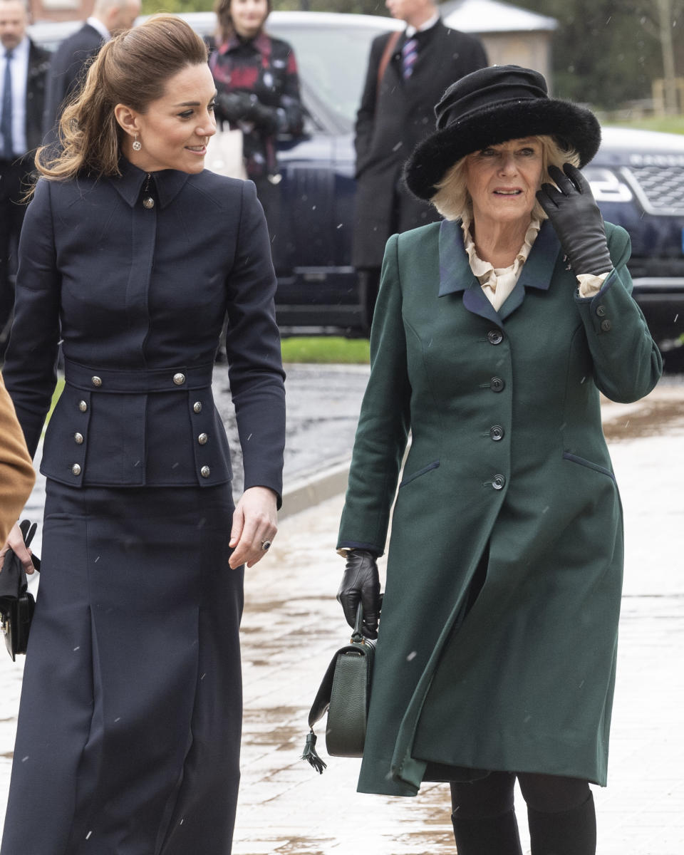 LOUGHBOROUGH, ENGLAND - FEBRUARY 11: Catherine, Duchess of Cambridge and Camilla, Duchess of Cornwall visit the Defence Medical Rehabilitation Centre Stanford Hall to meet patients and staff on February 11, 2020 in Loughborough, United Kingdom. (Photo by Mark Cuthbert/UK Press via Getty Images)