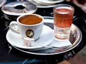 """<p>Traditional Turkish coffee, or Türk kahvesi, is not filtered, so it has a thick consistency redolent of Mexican hot chocolate. Combine very finely ground coffee beans, sugar, and sometimes a pinch of spice in a copper cezve pot over moderate heat, then bring the mix to a boil (sometimes repeatedly, depending on the method) and pour it into small, ornate mugs. Though this preparation is common in Turkey, it's also the basic method for coffee drinks throughout the Middle East and parts of the Balkans.</p> <p>Try it at home: <a href=""""https://fave.co/2K94O3y"""" rel=""""nofollow noopener"""" target=""""_blank"""" data-ylk=""""slk:$30 copper stovetop Turkish coffee pot at surlatable.com"""" class=""""link rapid-noclick-resp"""">$30 copper stovetop Turkish coffee pot at surlatable.com</a></p>"""