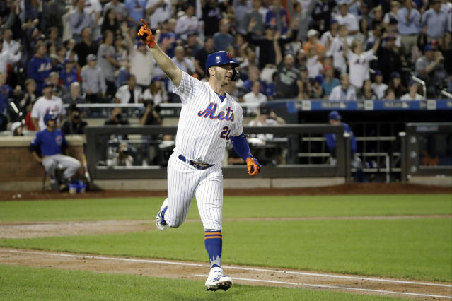 New York Mets' Pete Alonso trots the bases after hitting a solo home run during the fourth inning of a baseball game, Tuesday, Aug. 27, 2019, in New York. With the home run, Alsonso broke the Mets' single season home run record. (AP Photo/Kathy Willens)