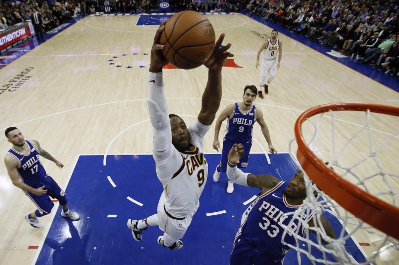Cleveland's Dwyane Wade goes up for a jam against Philadelphia. (AP)