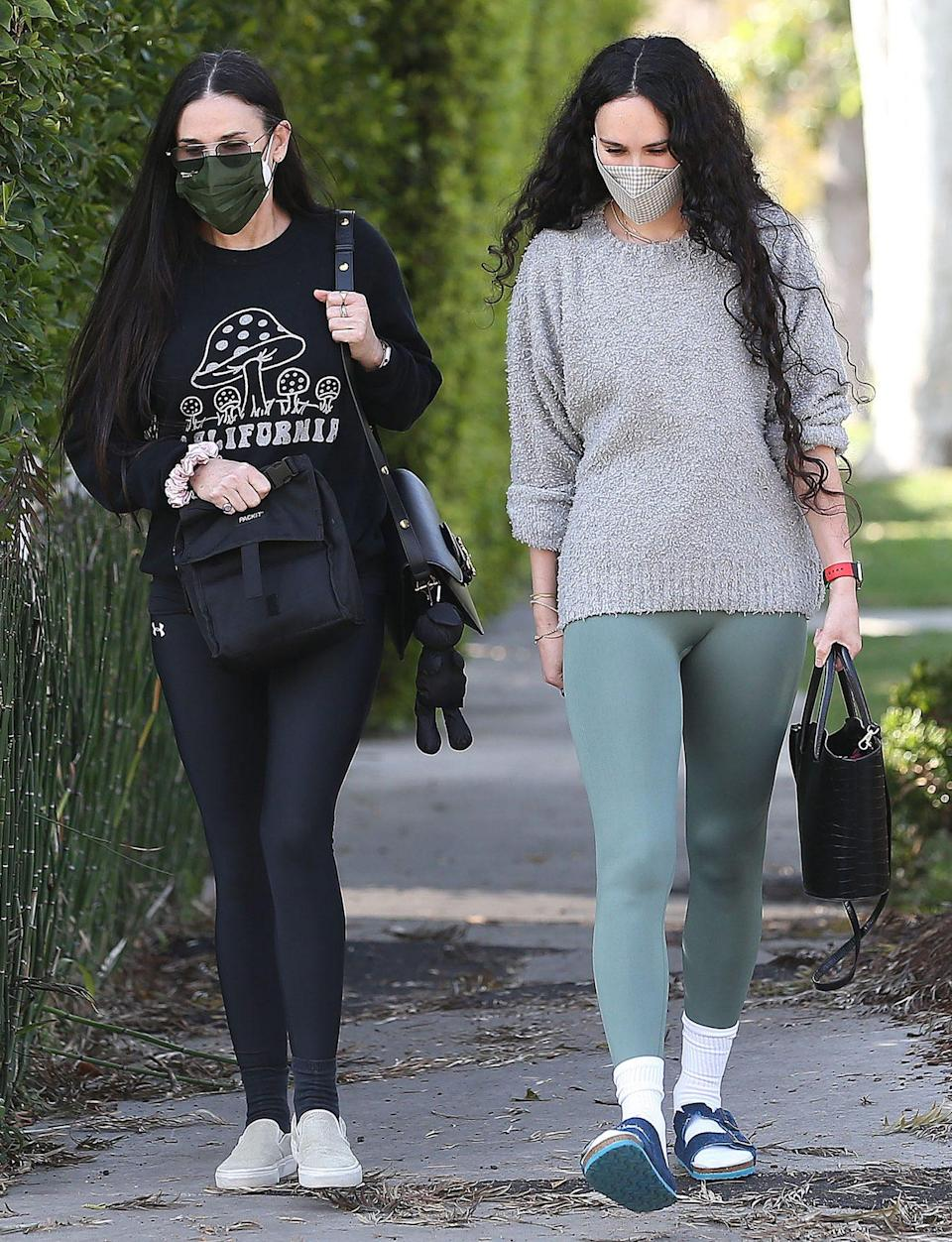 <p>Demi Moore and Rumer Willis leave a pilates class together in Weest Hollywood, California on Monday. </p>