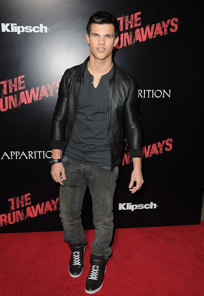 """<a href=""""http://movies.yahoo.com/movie/contributor/1808598632"""">Taylor Lautner</a> at the Los Angeles premiere of <a href=""""http://movies.yahoo.com/movie/1810129048/info"""">The Runaways</a> - 03/11/2010"""