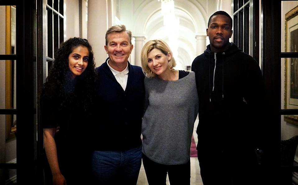 Jodie Whittaker takes center stage as the first female Doctor alongside Bradley Walsh, Tosin Cole, and Mandip Gill in the latest season of <em>Doctor Who</em>. (Photo: BBC America)